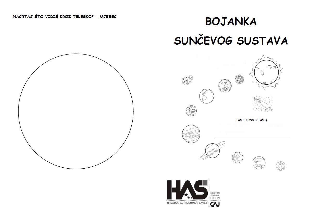 Bojanka Sunčevog sustava za djecu od 6 do 8 godina